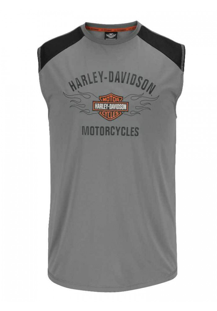 Harley Davidson Homme Performance Muscle Chemise, Flaming Sans Manches H55W