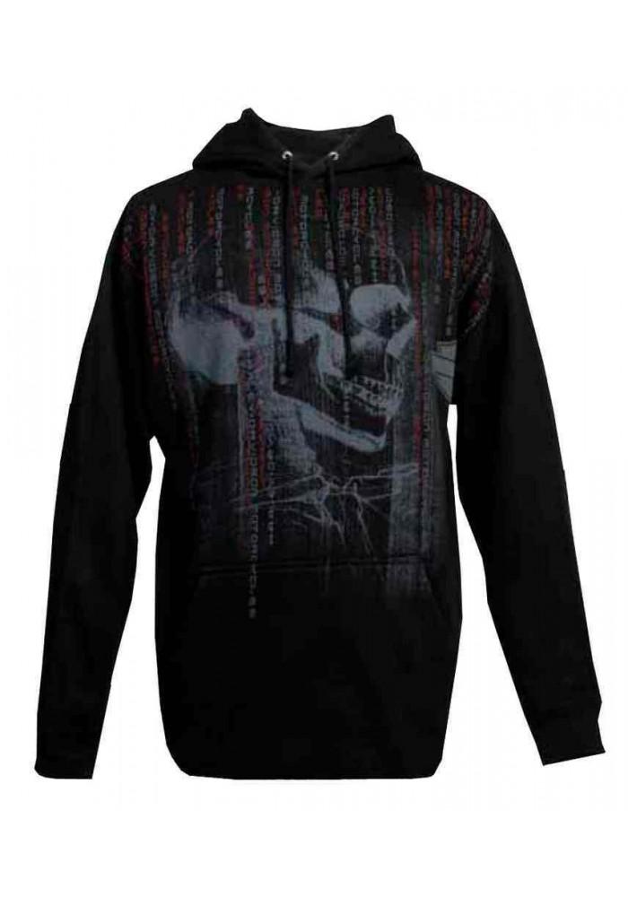 Harley Davidson Homme Pullover Sweatshirt à Capuche, Matrix Skull Profile, Noir