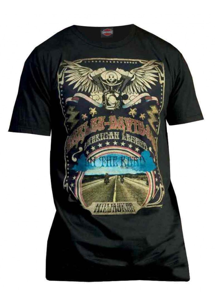 Harley Davidson Homme Retro On The Road Graphic T-Shirt Manches Courtes, Noir