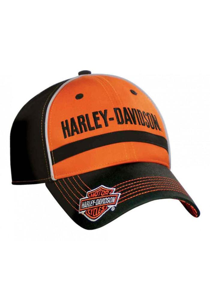 harley davidson homme casquette de baseball hd script noir orange bc51664. Black Bedroom Furniture Sets. Home Design Ideas