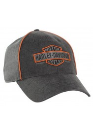 Harley Davidson Homme Nostalgic Bar & Shield Casquette de Baseball Gris/Orange BCC31380