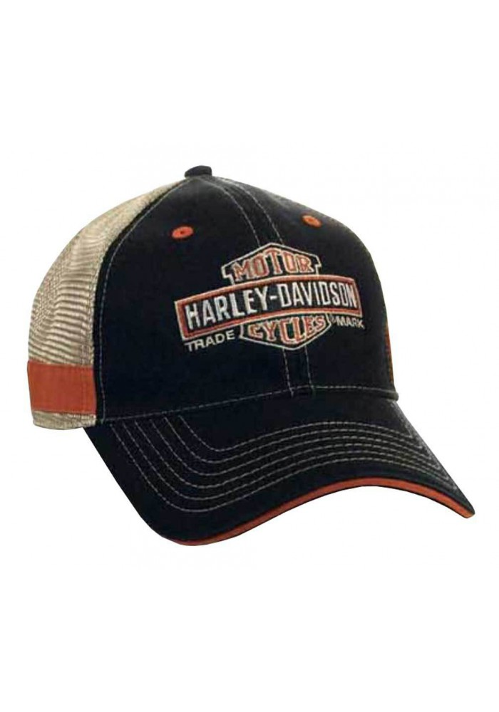 Harley Davidson Homme Long Bar & Shield Trucker Casquette BCC31212