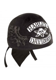 Harley Davidson Homme Winged Rocker Skull  bandana Stone Washed Noir HW11430