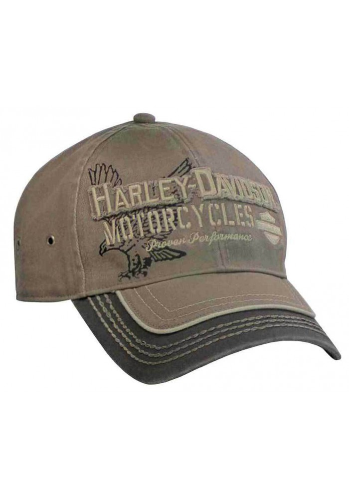 Harley Davidson Homme Casquette de Baseball Distressed Eagle Text Stone/ BCC09280
