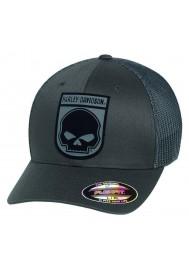Harley Davidson Homme Rubber Skull Patch Stretch Trucker Casquette Gris. 99410-16VM