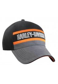 Harley Davidson Homme ed Stripe Casquette de Baseball Noir/Gris/Orange BCC51690