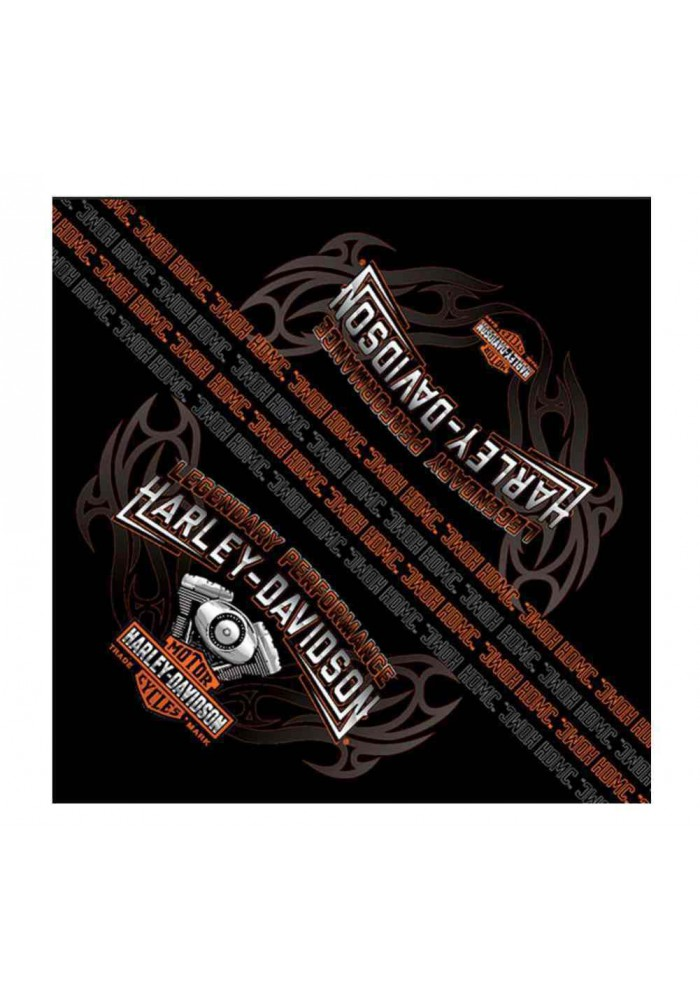 Harley Davidson Homme Bandana Engine Flames Bar & Shield Noir BA09830