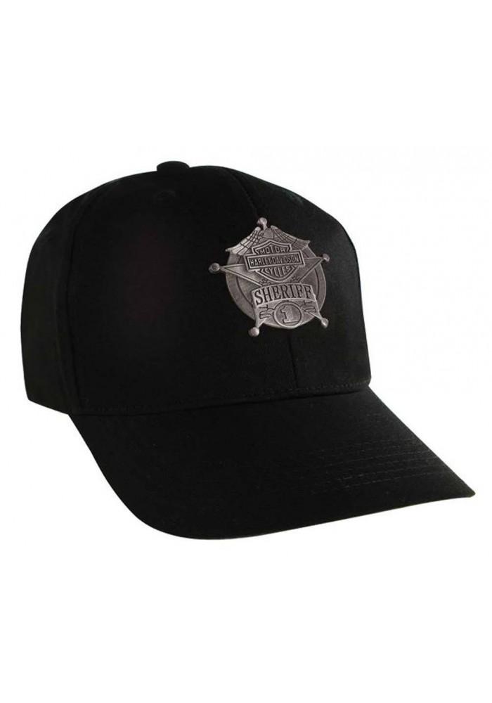 Harley Davidson Homme Sheriff Decal Casquette de Baseball Noir Velcro Closure BC126430