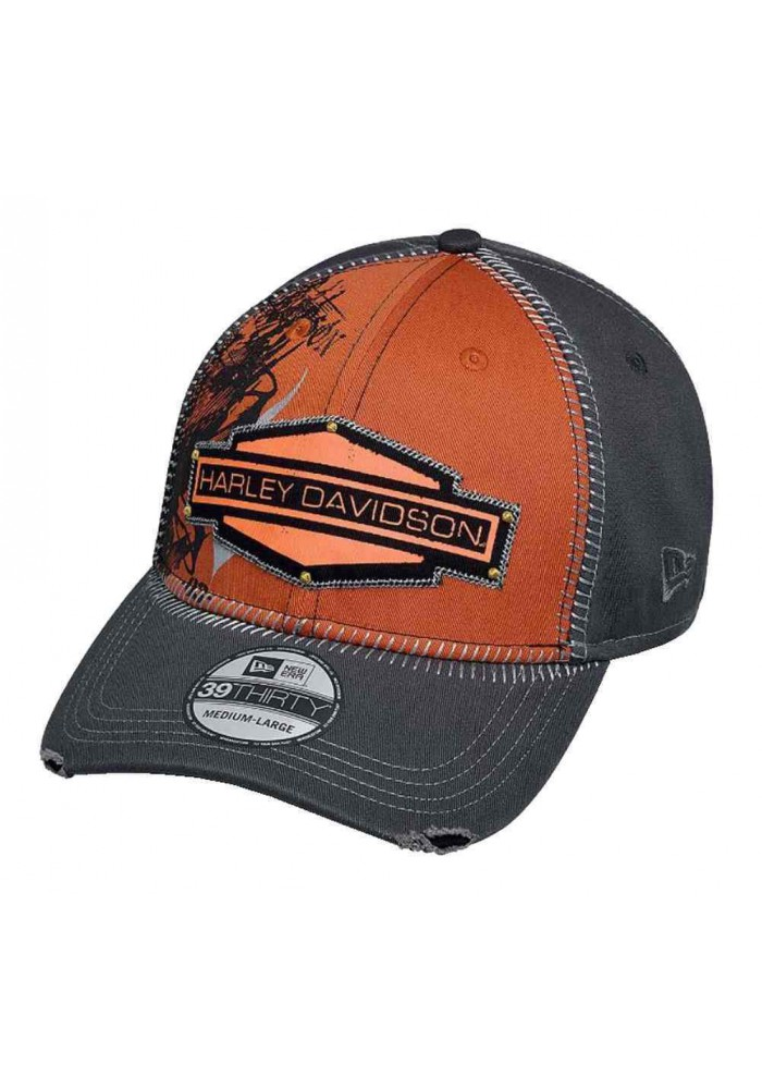 Harley Davidson Homme 39Thirty Whip Stitch Casquette de Baseball Orange 97605-17VM