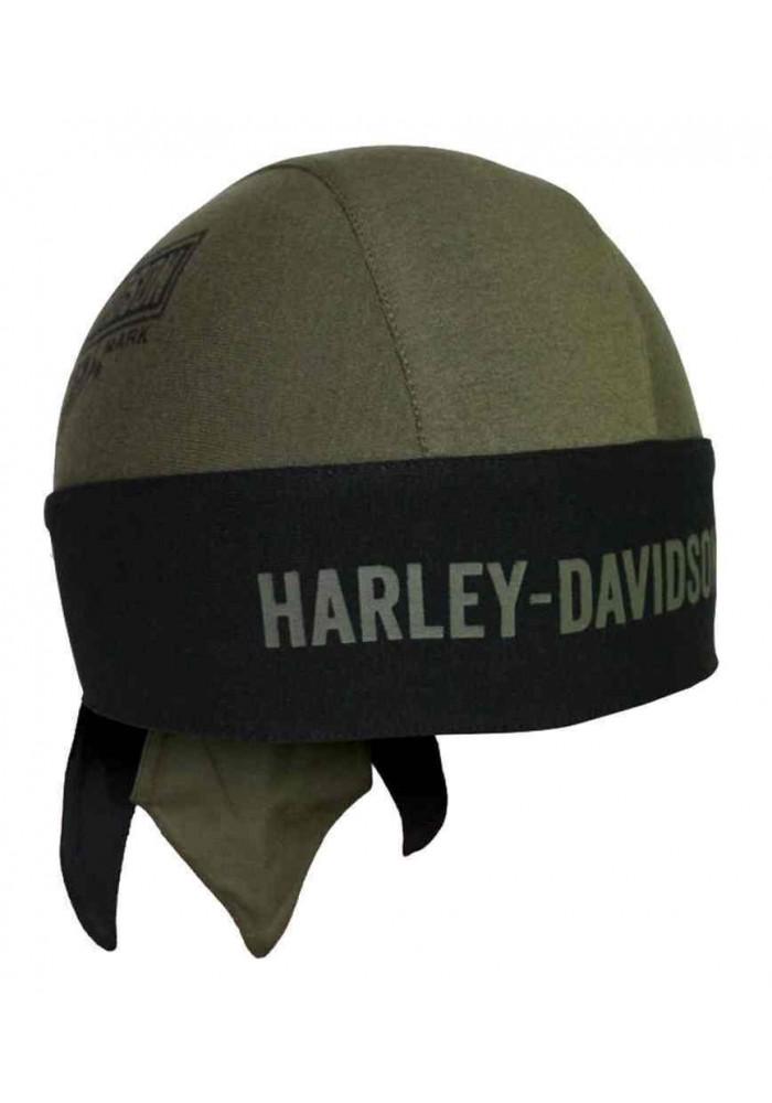 Harley Davidson Homme Elongated Bar & Shield bandana Olive Vert HW31253
