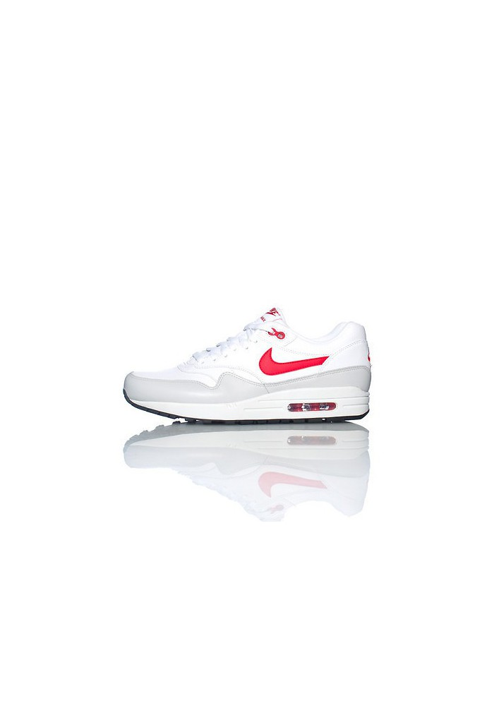 Baskets Nike Air Max 1 Cuir Blanc (Ref : 654466-102) Hommes Running