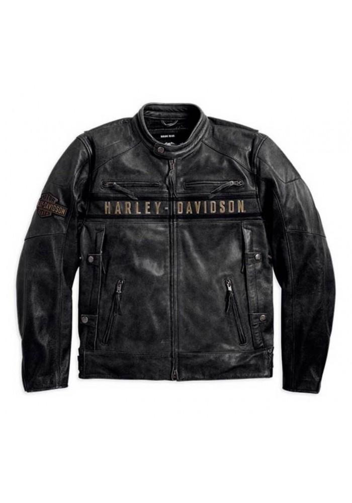 Blouson Harley-Davidson Hommes Passing Link Triple Vent en cuir 98074-14VM