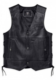 Blouson Harley-Davidson Hommes Tradition II Midweight en cuir Vest Noir 98024-18VM