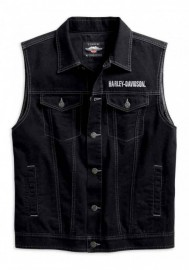 Blouson Harley-Davidson Hommes Embossed Upright Eagle Denim Vest - Noir 98415-19VM