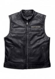 Blouson Harley-Davidson Hommes Embroidered Passing Link en cuir Vest Charcoal 98109-16VM