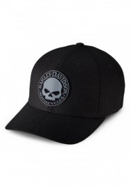 Casquette Harley Davidson Homme Rubber Skull Patch Stretch Cap Hat Black/Grey. 99409-16VM