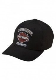 Casquette Harley Davidson Homme Traditional Logo Stretch Cap Hat Black. 99408-16VM