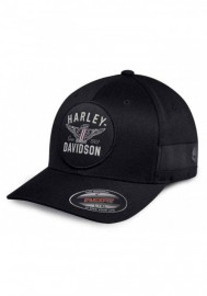 Casquette Harley Davidson Homme Winged Logo Stretch Fit Baseball Cap Black 99403-18VM