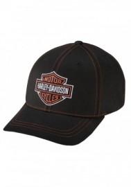 Casquette Harley Davidson Homme Contrast Stitch Logo Stretch Cap Hat Black. 99419-16VM
