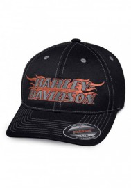 Casquette Harley Davidson Homme Flames H-D Stretch Fit Baseball Cap Black 99408-18VM