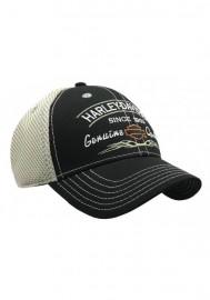 Casquette Harley Davidson Genuine Harley Logo Mesh Back Black Baseball Cap BCD16212