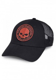 Casquette Harley Davidson Homme Orange Embroidered Willie G Skull Trucker Cap 99491-17VM