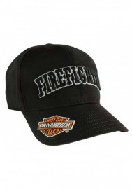 Casquette Harley Davidson Firefighter 3D Black Baseball Cap Adjustable Closure BC126830