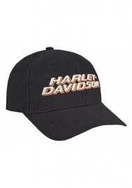 Casquette Harley Davidson Homme 3D H-D Rubberized Script Snap Back Baseball Cap Black BCC51664