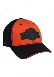 Casquette Harley Davidson Homme Rubber B&S Patch Baseball Cap Orange & Black BCC31264