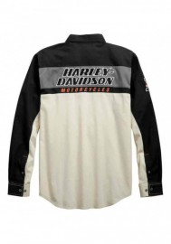 Harley-Davidson Hommes H-D Racing manches longues Woven Shirt Off-White 99163-19VM