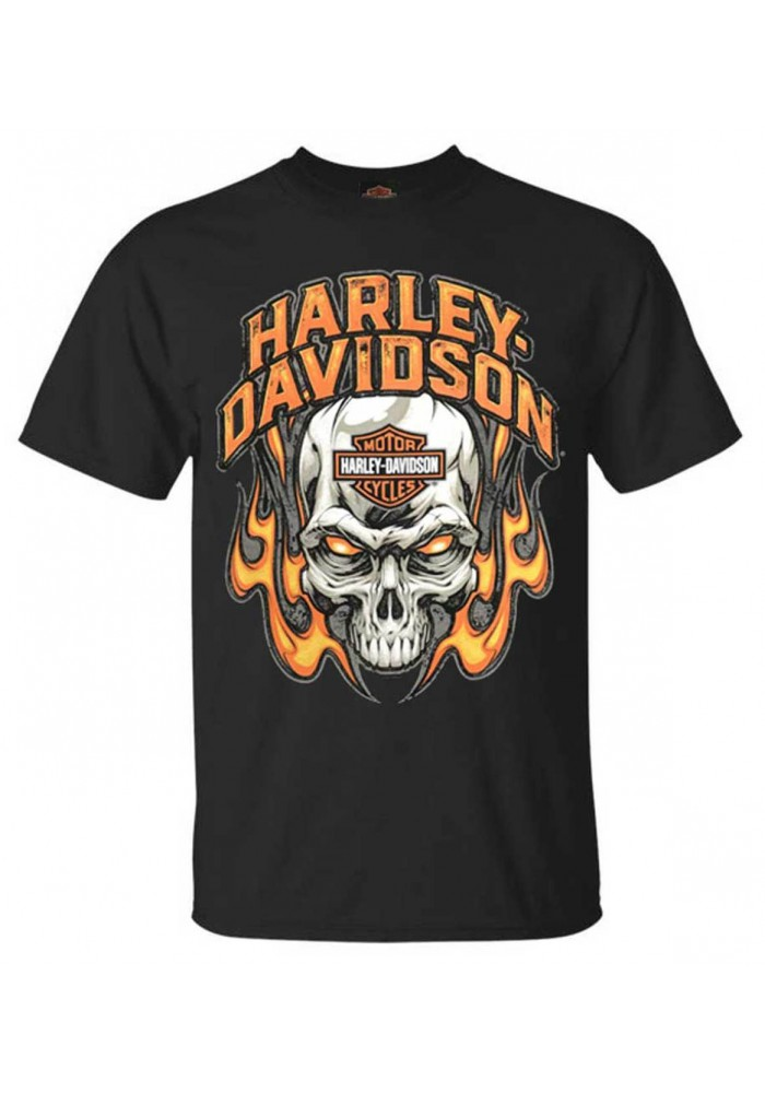 Harley-Davidson Hommes Toasty Flaming Skull col rond manches courtes T-Shirt  Noir 30297449