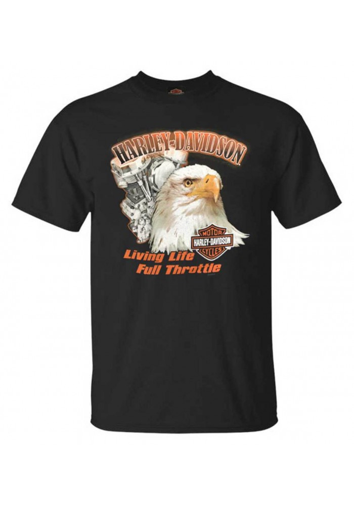 Harley-Davidson Hommes Living Life All-Cotton manches courtes col rond Tee Shirt Noir 30297425