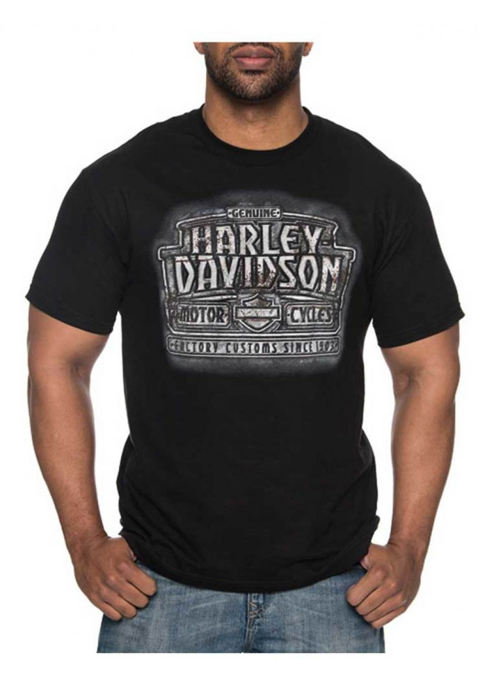 Harley-Davidson Hommes Rampart All-Cotton manches courtes col rond T-Shirt Noir 30297426