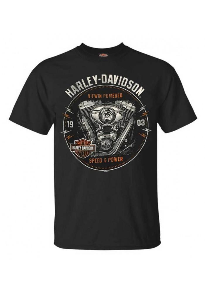 Harley-Davidson Hommes Engine Grunge manches courtes col rond T-Shirt Noir 30292302