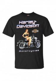 Harley-Davidson Hommes Noir Top Pin-Up Cotton manches courtes T-Shirt - Noir 30292309