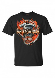Harley-Davidson Hommes Chain Breaker Flaming Engine manches courtes T-Shirt Noir 30297447