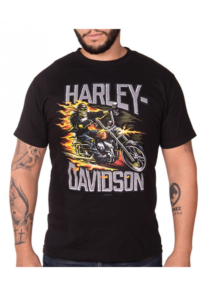 Harley-Davidson Hommes Mean & Lean Biker manches courtes All-Cotton T-Shirt - Noir 30298717