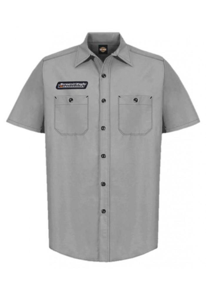 Harley-Davidson Hommes Screamin' Eagle Contrast Stitch Woven Shop Short - Gray ST8SB