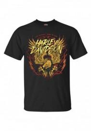 Harley-Davidson Hommes Eagle Lightning manches courtes col rond T-Shirt - Noir 30292390