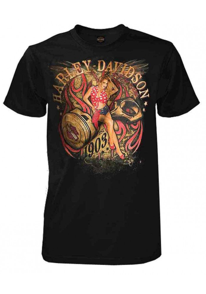 Harley-Davidson Hommes Shop Angel All-Cotton manches courtes T-Shirt - Noir 30292306