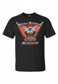 Harley-Davidson Hommes Chrome Eagle col rond manches courtes T-Shirt - Noir 30292373