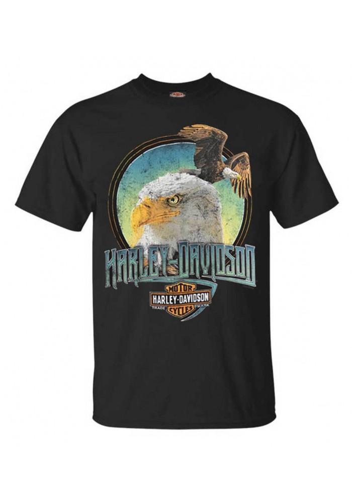 Harley-Davidson Hommes Classic Eagle manches courtes col rond T-Shirt - Noir 30292393