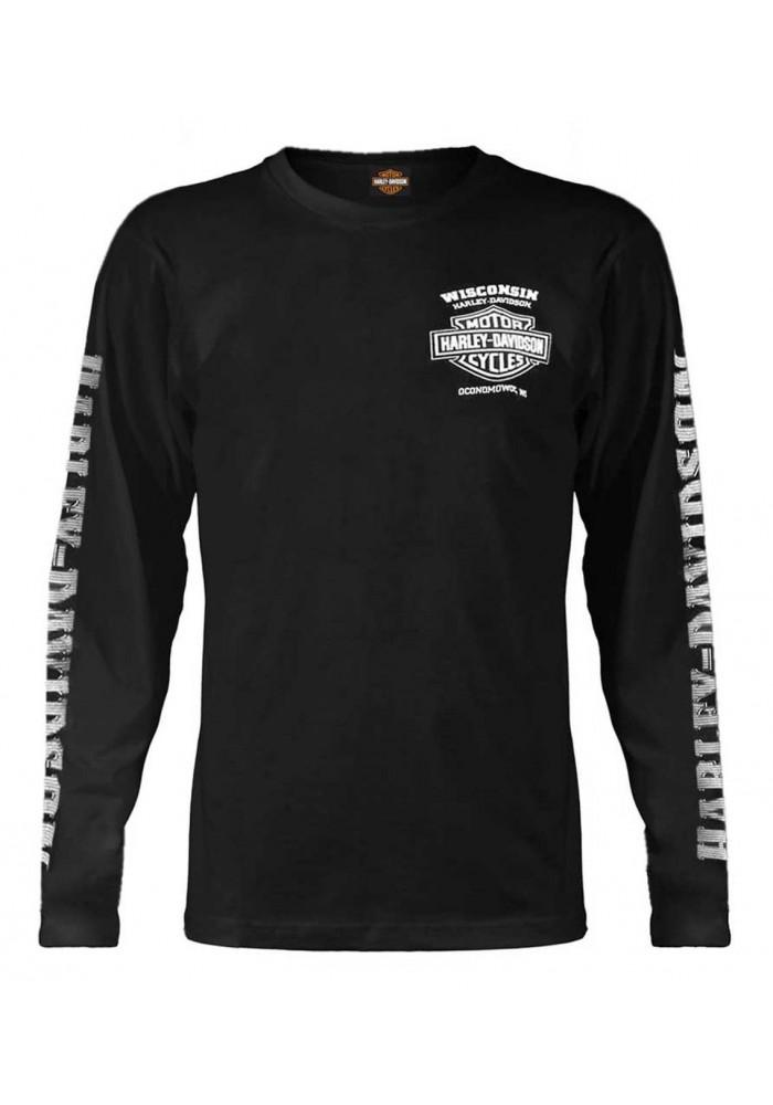 Harley-Davidson Hommes Skull Lightning Crest Graphic manches longues Shirt  Noir 30295296