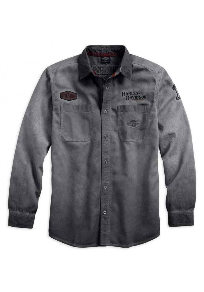 Harley-Davidson Hommes Iron Block manches longues Woven Shirt Gray 99020-17VM