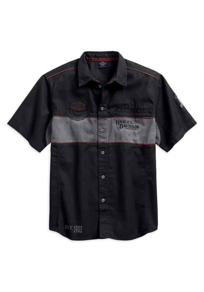 Harley-Davidson Hommes Iron Block manches courtes Woven Shirt Noir 99018-17VM