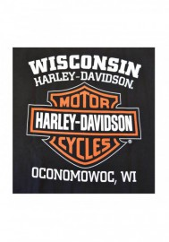 Harley-Davidson Hommes Distressed Elongated Bar & Shield Noir T-Shirt 30296553