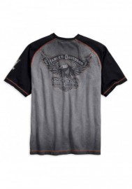 Harley-Davidson Hommes Iron Block Raglan manches courtes Tee Shirt Gray 99011-17VM
