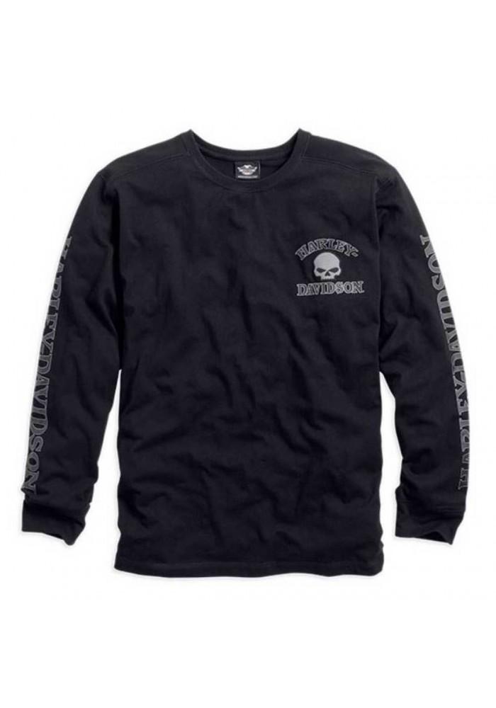 Harley-Davidson Hommes Willie G. Skull manches longues Tee Shirt Noir 99091-14VM