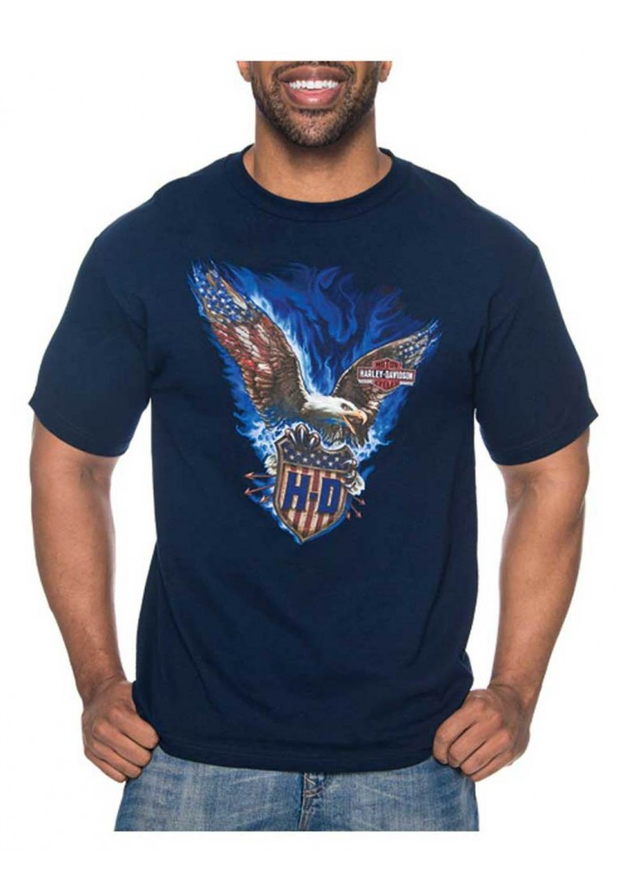Harley-Davidson Hommes Vicious Eagle All-Cotton manches courtes T-Shirt - Navy 30297436