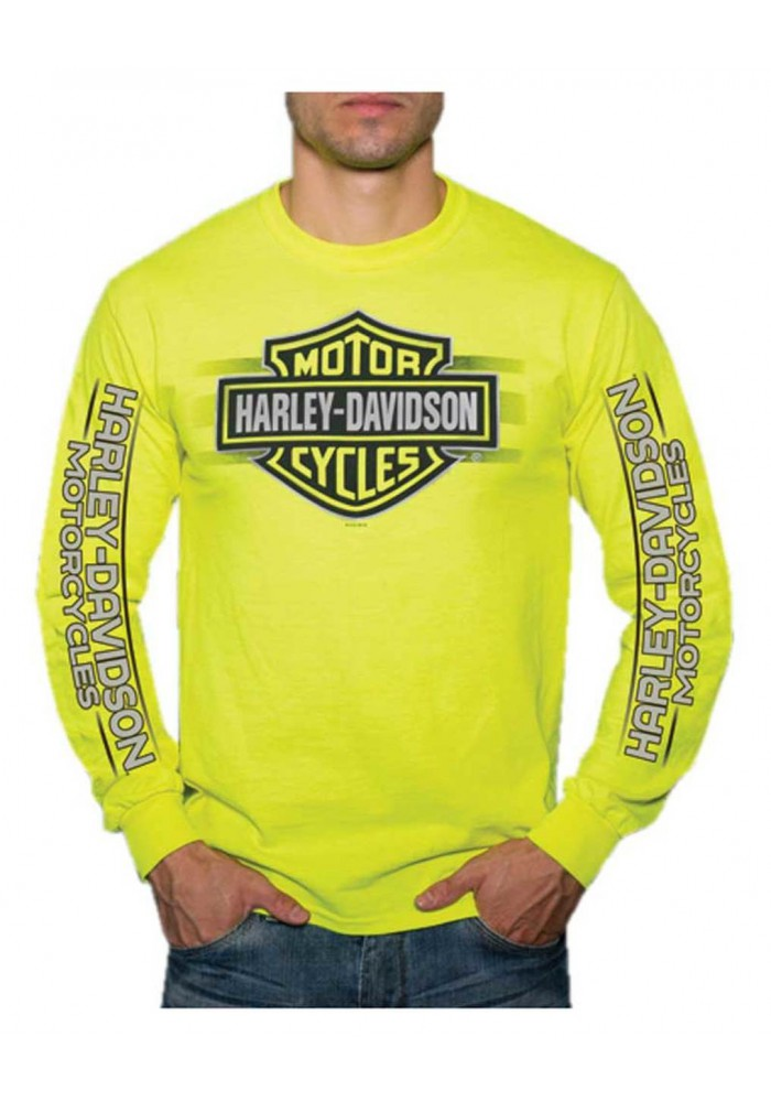 Harley-Davidson Hommes Ruthless Bar & Shield manches longues Shirt - Safety Green 30297460